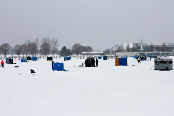 Ice Fishing on Sarnia Bay.  Observer Photo