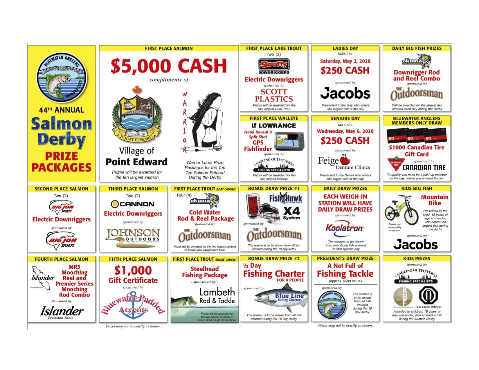 2020 Bluewater Anglers Salmon Derby Major Prizes