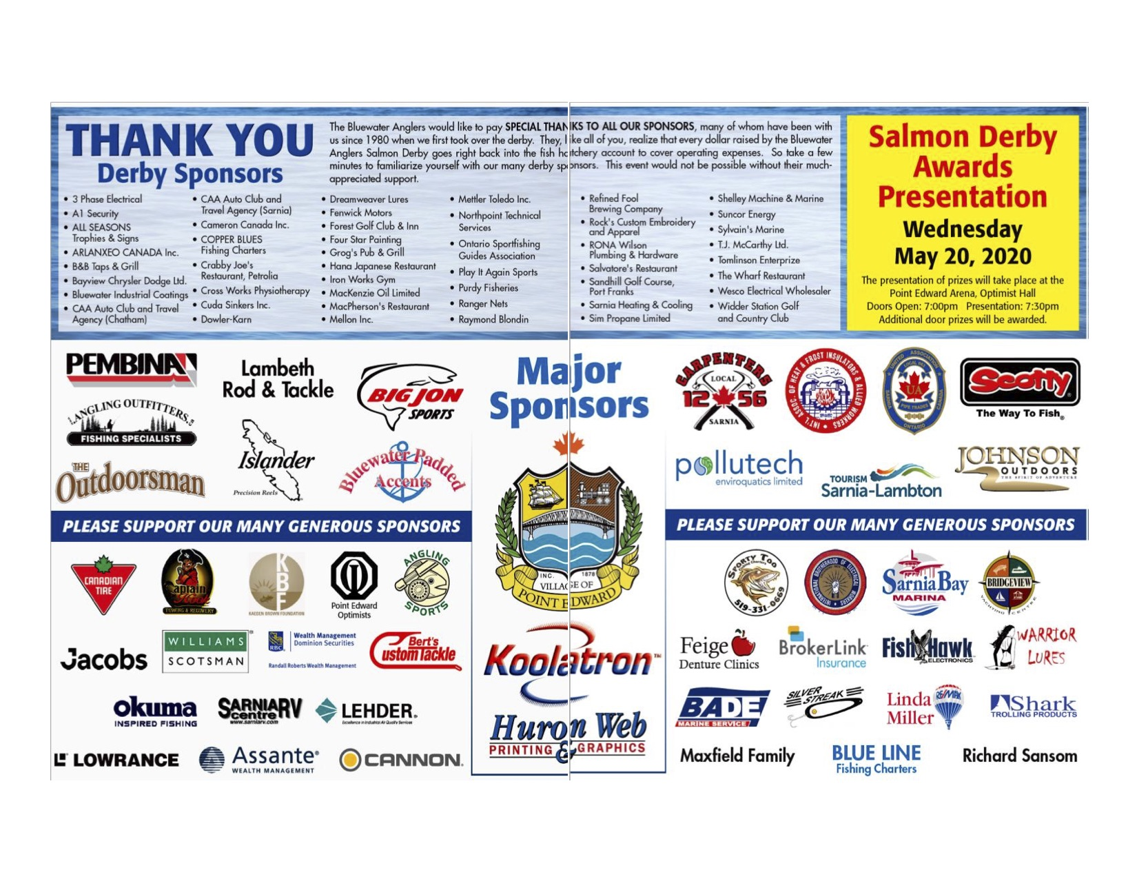 2020 Bluewater Anglers Salmon Derby Sponsors