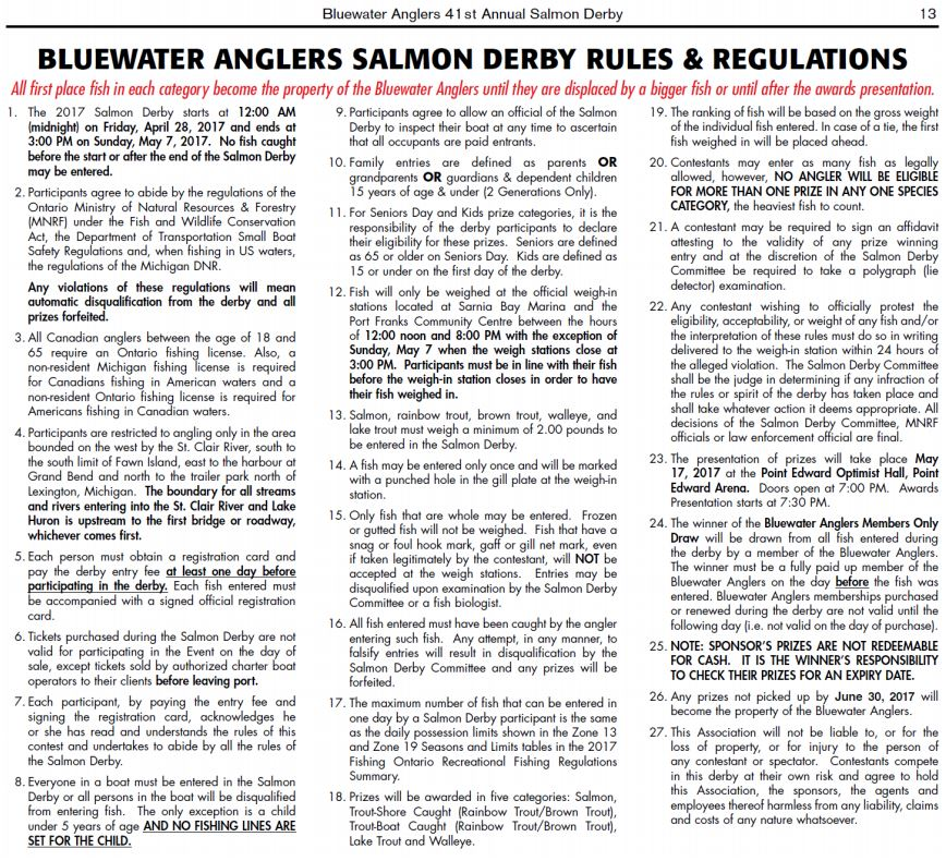 2019 Bluewater Anglers Salmon Derby Rules